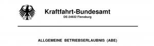 ABE Allgemeine Betriebserlaubnis